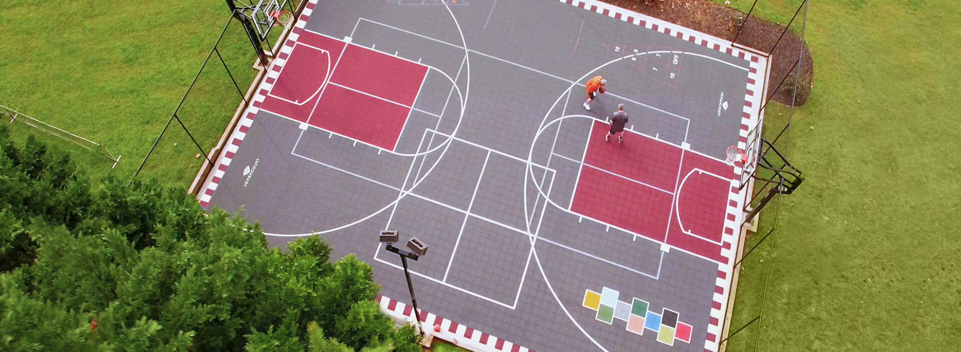 old tennis court transformed into a multi-sport game court